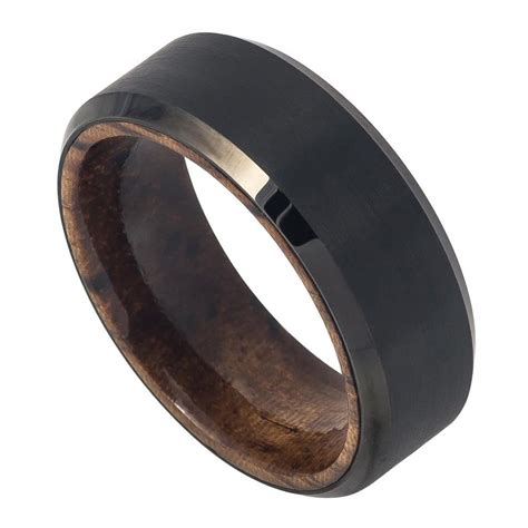 8mm men tungsten wedding band ring black ip plated brushed