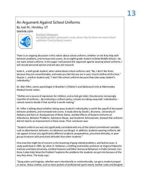 Argumentative Essay Topics School Uniforms  Essay Against