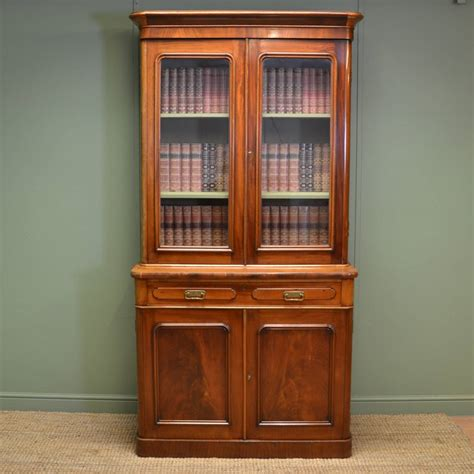 Victorian Mellow Mahogany Antique Bookcase On Cupboard