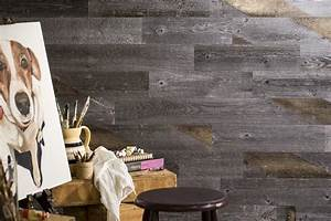 Peel and stick wood wall tiles ideas to create a for Adhesive reclaimed wood planks