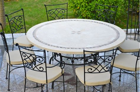 mosaic outdoor dining table 49 63 quot round stone patio outdoor dining table mosaic