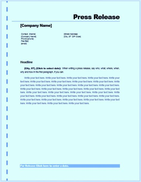 writing a press release template free sle press release template word