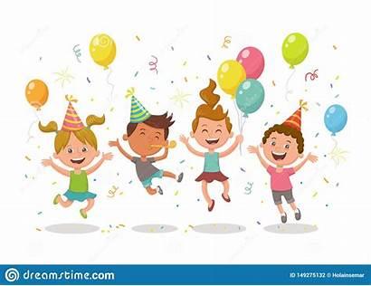 Party Celebrating Cartoon Birthday Hats Balloons Happy