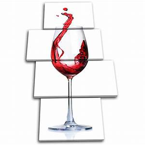 Red wine Glass Food Kitchen MULTI CANVAS WALL ART Picture ...