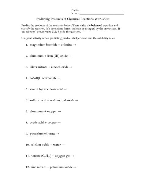 of types chemical reactions worksheets