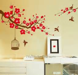 plum tree flower with birds and birdcage wall stickers wallstickerdeal com