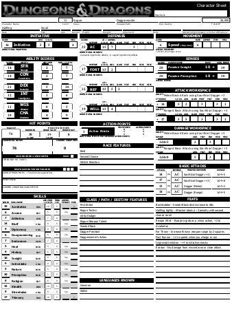 an od d character sheet