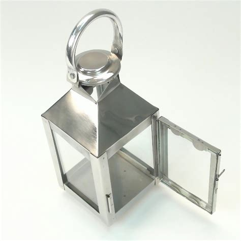 Chrome Candle Lantern by Modern Nuveau Square Chrome Candle Lantern