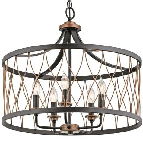 Lantern Chandelier Lowes by Shop Kichler Lighting Brookglen 20 47 In W Black And Suede