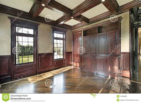 library  cherry wood paneled walls stock image image