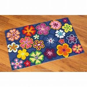 kit tapis canevas au point de croix fleurs multicolores With tapis à fleurs