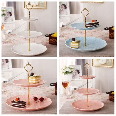 gold crown   tier cake fruit plate stand handle fitting hardware rod plate stand