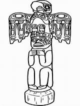 Coloring Pages Totem Pole Poles Printable Native Indian Americans sketch template