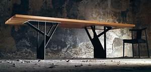 Table à Manger Industrielle Acier Et Bois : table en bois massif style industriel et l gance suisse ~ Teatrodelosmanantiales.com Idées de Décoration