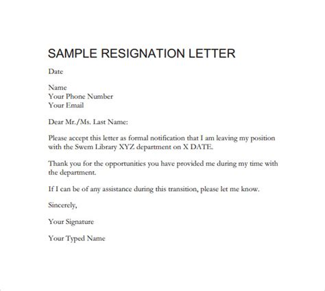 Formal Format Of Resignation Letter by Formal Resignation Letter 40 Free Documents In