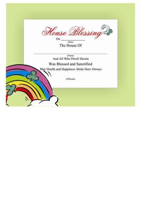 house blessing certificate template rainbow printable