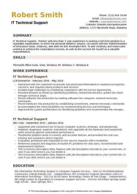 Resume Technical Support by It Technical Support Resume Sles Qwikresume