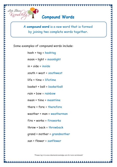 grade  grammar topic  compound words worksheets lets