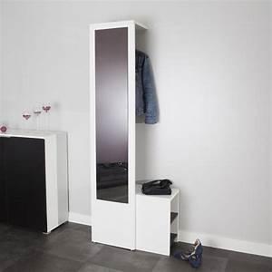 Meubles entree moderne meuble duentre blanc laque miroirs for Ordinary meuble a chaussure avec miroir 12 meuble dentree maja azura home design