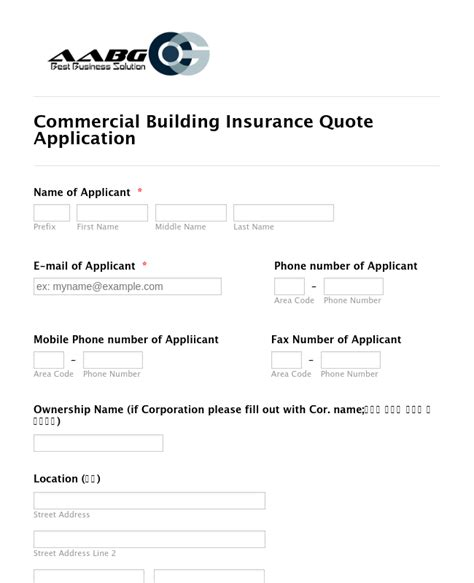 Typing, drawing, or capturing one. Commercial Building Insurance Application Form Template ...
