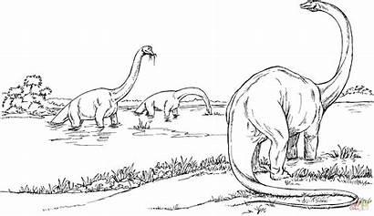 Brachiosaurus Coloring Pages Dinosaur Dinosaurs Lake Printable