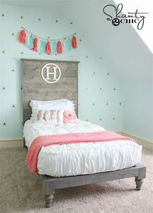 DIY Twin Platform Bed and Headboard - Shanty 2 Chic