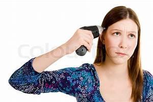 Sad Woman Shooting Herself With Screwdriver