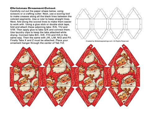 christmas papercraft  fashioned ornaments printable