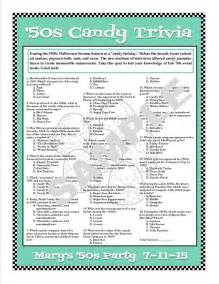 1950s trivia printable gamepersonalize for birthdays
