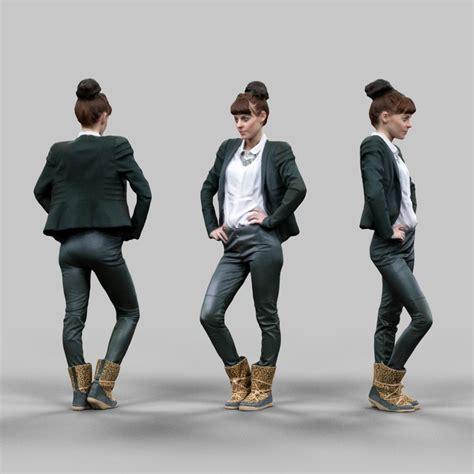 obj office girl posing leather pants