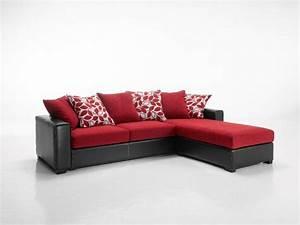 Canape Angle Rouge : canape d 39 angle reversible kennett tweed rouge et cuir ~ Teatrodelosmanantiales.com Idées de Décoration