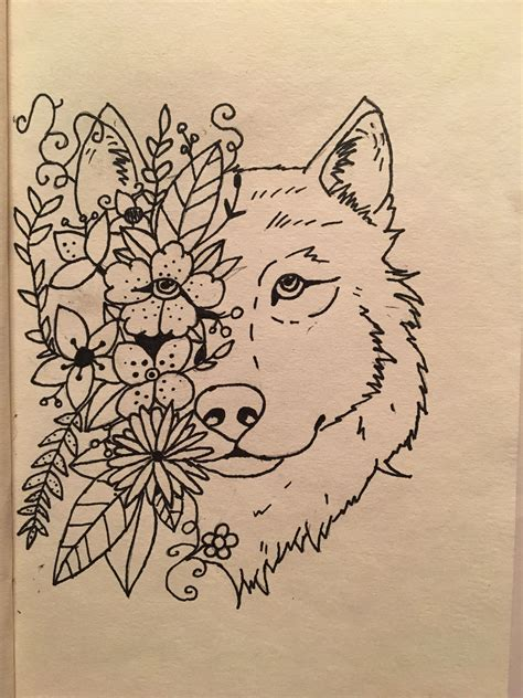 sharpie drawing wolf head  flowers wolf