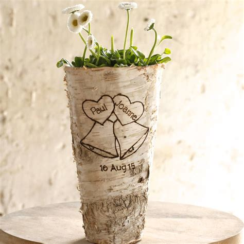 birch wood vase personalised wedding bells birch wood vase by letteroom