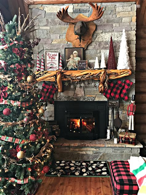 christmas mantle buffalo plaid stockings  rustic decor