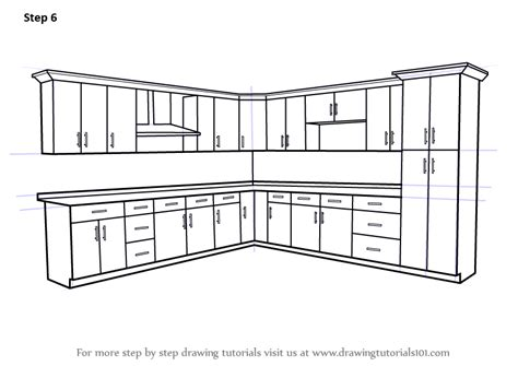 learn   draw kitchen cabinets furniture step
