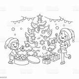 Coloring Christmas Tree Outline Children Decorate Gifts Illustration Vector Cartoon Present Child Below Worksheet Numbers Boys sketch template