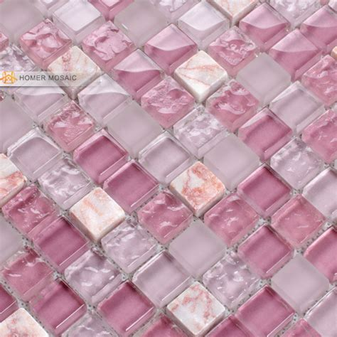 pink glass mixed marble tile 12x12 bathroom