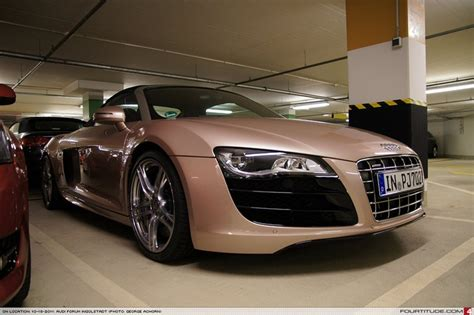 light pink audi audi r8 spyder with custom pink metallic paint from audi