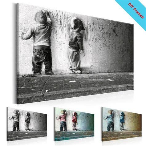 diy framed canvas painting  boys banksy graffiti