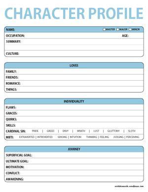 Character Profile Worksheets  Lara Willard