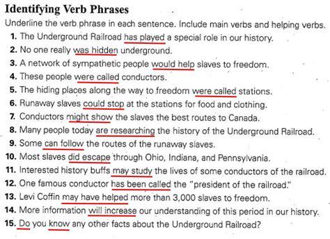 Verb Phrases Key
