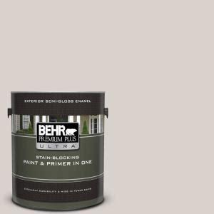 behr premium plus ultra 1 gal n200 1 moth gray gloss enamel exterior paint and primer in