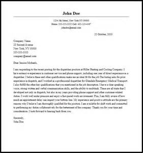 professional dispatcher cover letter sle writing