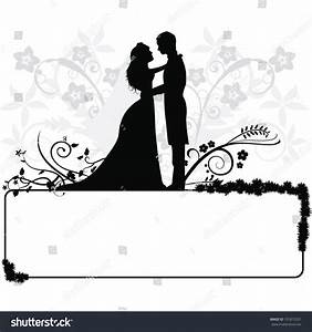 Wedding Couple Silhouettes Background Stock Vector ...