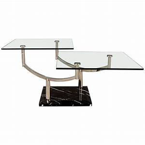 two level glass coffee table with chrome frame on marble With 2 level glass coffee table
