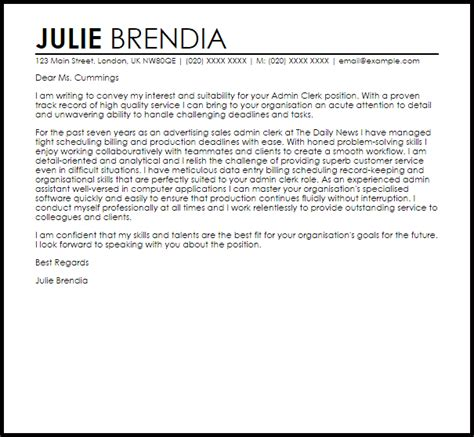 admin clerk cover letter sle livecareer