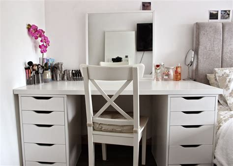 makeup vanity desk e h my makeup desk storage and organisation