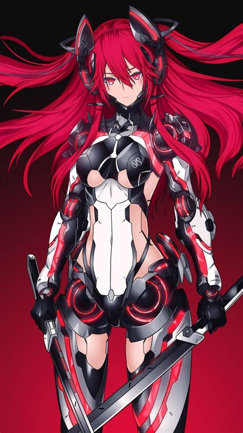 wallpaper mecha girl red warrior katana  anime