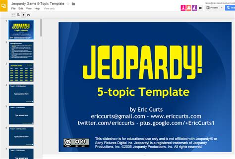 Jeopardy Template Slides Great Quot Jeopardy Quot Template For Slides Ed Tech