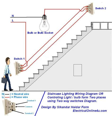 two switch light circuit diagram how to a l light bulb from two places using